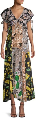 3.1 Phillip Lim Mixed-Print Maxi Silk-Blend Dress
