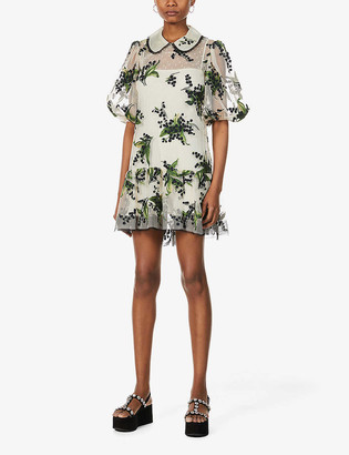 RED Valentino May Lily floral-print mesh mini dress