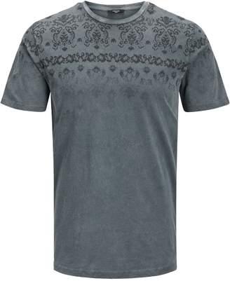 Jack and Jones Faded-Print Crew Neck Cotton T-Shirt