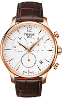 Tissot T0636173603700 Tradition Chronograph Date Leather Strap Watch, Brown/white
