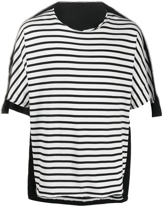 Fumito Ganryu panelled striped-print T-shirt