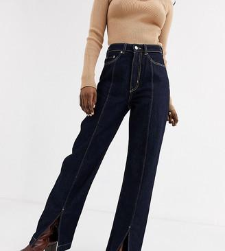 Weekday Row organic cotton high waist jeans in dark blue rinse