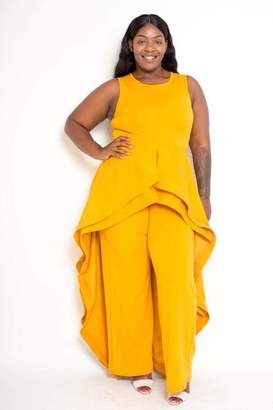 Couture Buxom Sleeveless Cape-Skirt Jumpsuit in Yellow Size 2X