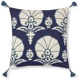 Williams-Sonoma Williams Sonoma Ottoman Floral Velvet Applique Pillow Cover, Blue