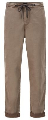HUGO BOSS Tapered-fit trousers in stretch fabric with drawstring waist