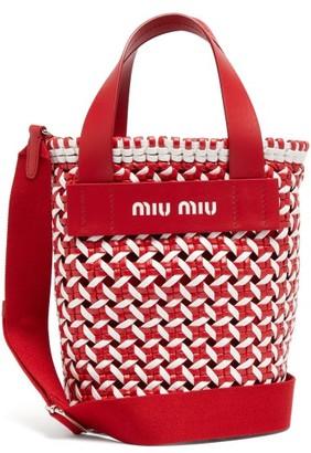 Miu Miu Woven Leather Bucket Bag - Red White