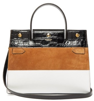 Burberry Title Small Suede-panelled Leather Bag - Womens - Tan White
