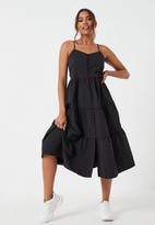 Missguided Black Strappy Tiered Smock Midi Dress