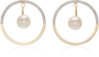 Mateo Half Moon Floating Pearl Hoop Earrings