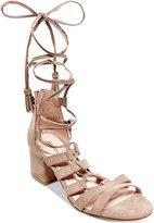 Madden-Girl Loverrr Lace-Up Block-Heel Sandals