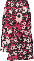 Marni Asymmetric printed cotton and silk-blend skirt