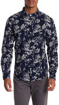Knowledge Cotton Apparel Bird Print Front Button Shirt