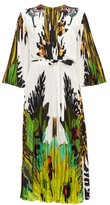 Valentino Jungle-print Pleated Crepe De Chine Dress - Womens - Ivory Multi