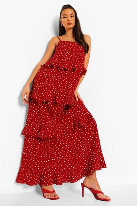 boohoo Polka Dot Extreme Ruffle Maxi Dress