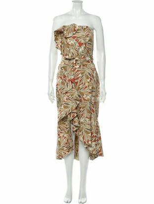 Alexis Printed Midi Length Dress Brown