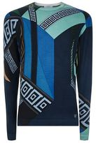 Versace Collection Abstract Printed Silk Jumper