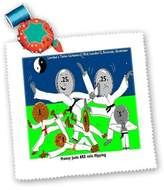 3dRose LLC qs_2134_1 Londons Times Funny Music Cartoons - Money Judo Or Coin Flipping - Quilt Squares