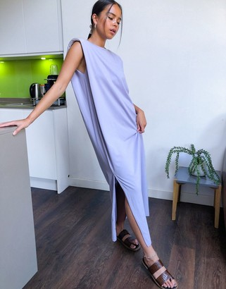 Weekday Kai organic cotton jersey dress with shoulder pads in dusty purple