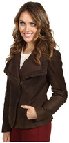 Nicole Miller Leather Jacket w/ Ribbed Knit Trim
