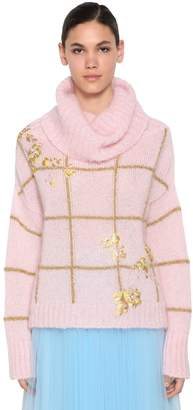 DELPOZO Embroidered Mohair Blend Sweater