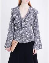 Co Floral-print ruffled silk blouse