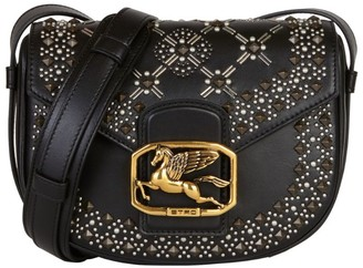 Etro Leather Studded Pegaso Saddle Bag