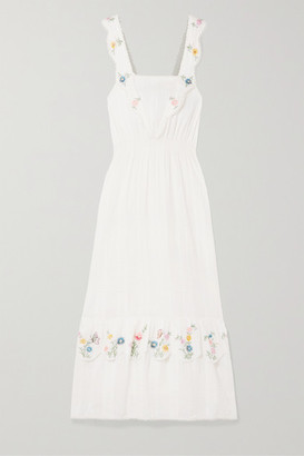 LoveShackFancy Aphrodite Embroidered Pintucked Cotton-voile Maxi Dress - Cream