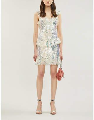 Needle And Thread Scarlett Ruffled-Trim Sequinned Mini Dress