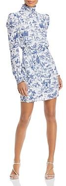 Aqua Puff Sleeve Turtleneck Cocktail Dress - 100% Exclusive