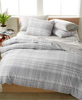 Calvin Klein Washed Essentials Cotton Faded Plaid Queen Duvet Set
