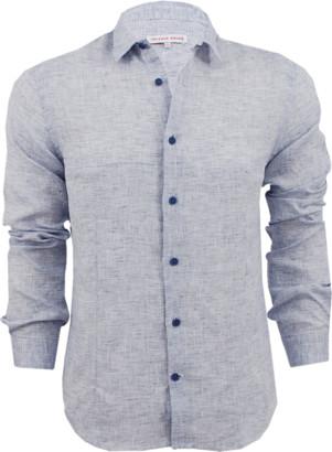 Orlebar Brown Morton Linen Navy Tailored Linen Shirt