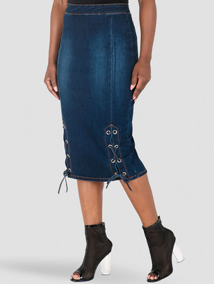 Poetic Justice Eula High Rise Lace Up Denim Pencil Skirt