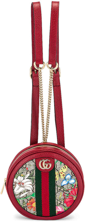 Gucci Ophidia Supreme GG Flora Round Chain Backpack in Beige Ebony & Red | FWRD