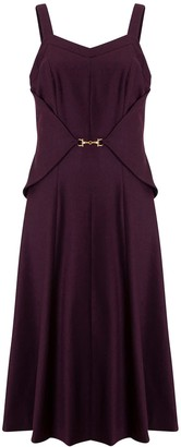 Doyi Park Metal Waist Layered Midi Dress - Burgundy