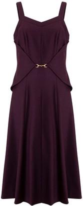 Doyi Park Metal Waist Layered Midi Dress - Burgundy