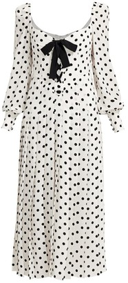 Alessandra Rich Polka Dot Lace-Up Puff Sleeve Midi Dress