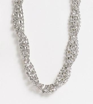 ASOS DESIGN Curve necklace in twist crystal design in silver tone