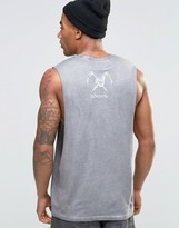 Asos Sleeveless T-Shirt With Skull Back Print And Pigment Wash