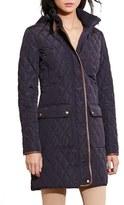 Lauren Ralph Lauren Diamond Quilted Coat with Faux Leather Trim (Regular & Petite)