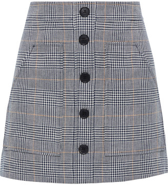 Veronica Beard Fisher Prince Of Wales Checked Linen And Cotton-blend Mini Skirt
