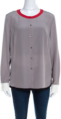 Escada Pewter Grey Silk Contrast Trim Long Sleeve Nendi Blouse M