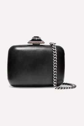 Alexander McQueen Crystal-embellished Leather Shoulder Bag - Black