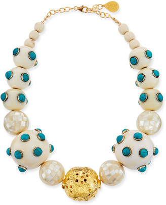 Devon Leigh Pearl & Scattered Turquoise Necklace