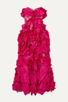 Alexander McQueen Strapless Ruffled Silk-taffeta And Cotton-blend Lace Gown - Pink