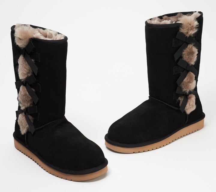 Koolaburra By Ugg by UGG Suede Bow Tall Boots - Victoria