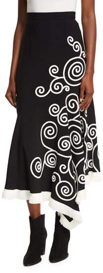 Andrew Gn Swirl-Embroidered Midi Skirt