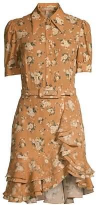 Michael Kors Belted Floral Silk Ruffle Shirtdress