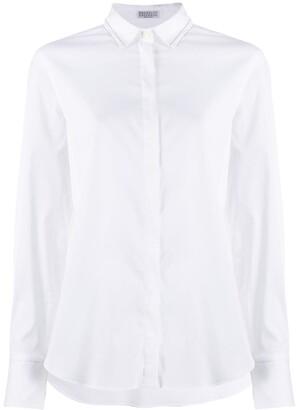 Brunello Cucinelli Bead-Trimmed Point-Collar Shirt