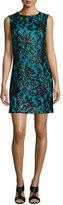 Diane von Furstenberg Sleeveless Floral Shift Dress, Black/Blue Lagoon