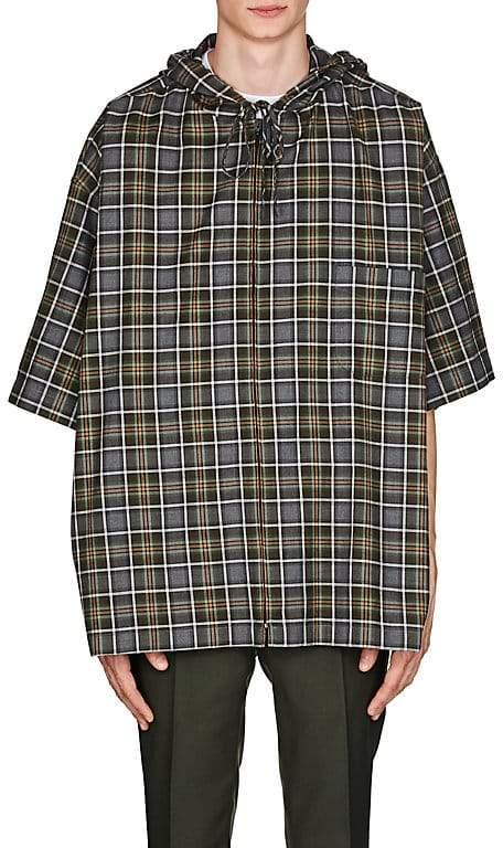 Balenciaga Men's Plaid Cotton Flannel Hooded Shirt